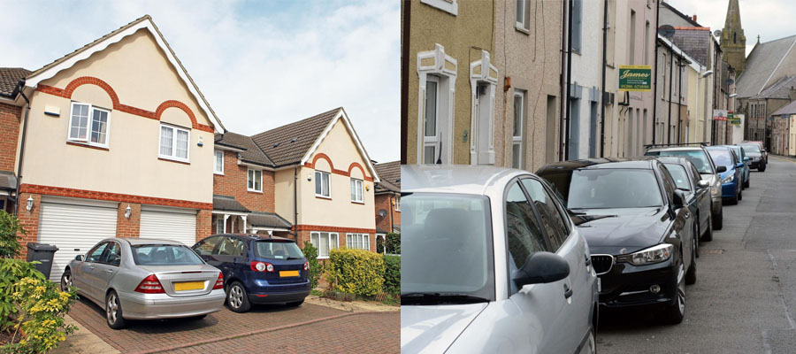 Cars Parked on drive in Safe Neighbourhood compared to Cars parked on the size of the road in risky neighbourhood